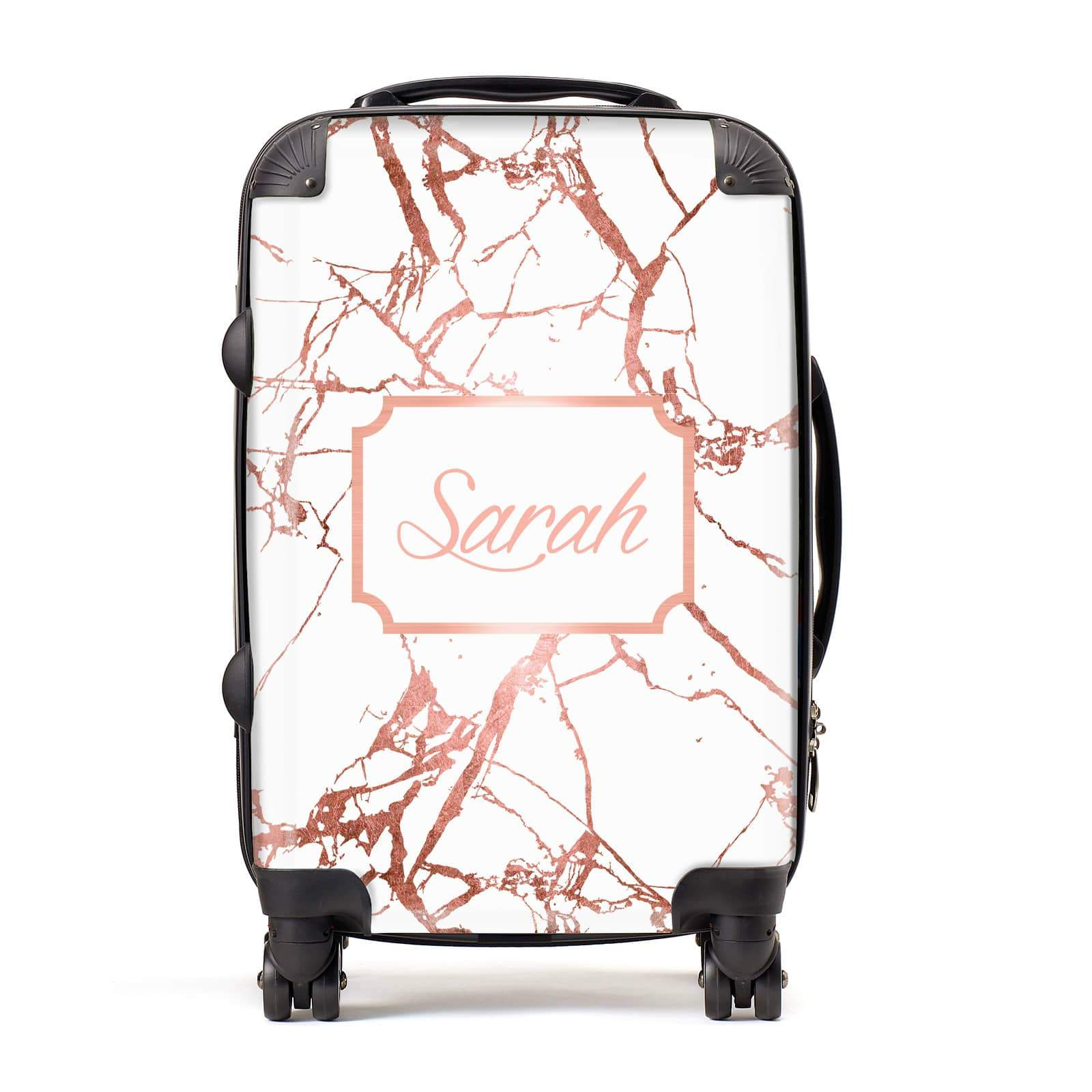 Personalised Rose Gold Marble & Name Suitcase