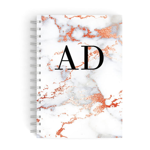 Personalised Rose Gold Marble Initials A5 Hardcover Notebook