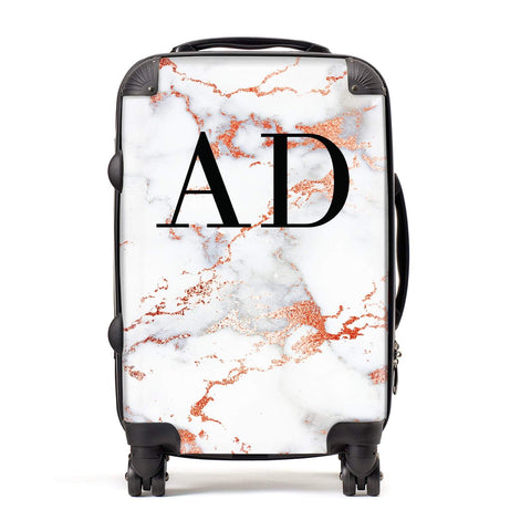 Personalised Rose Gold Marble Initials Suitcase