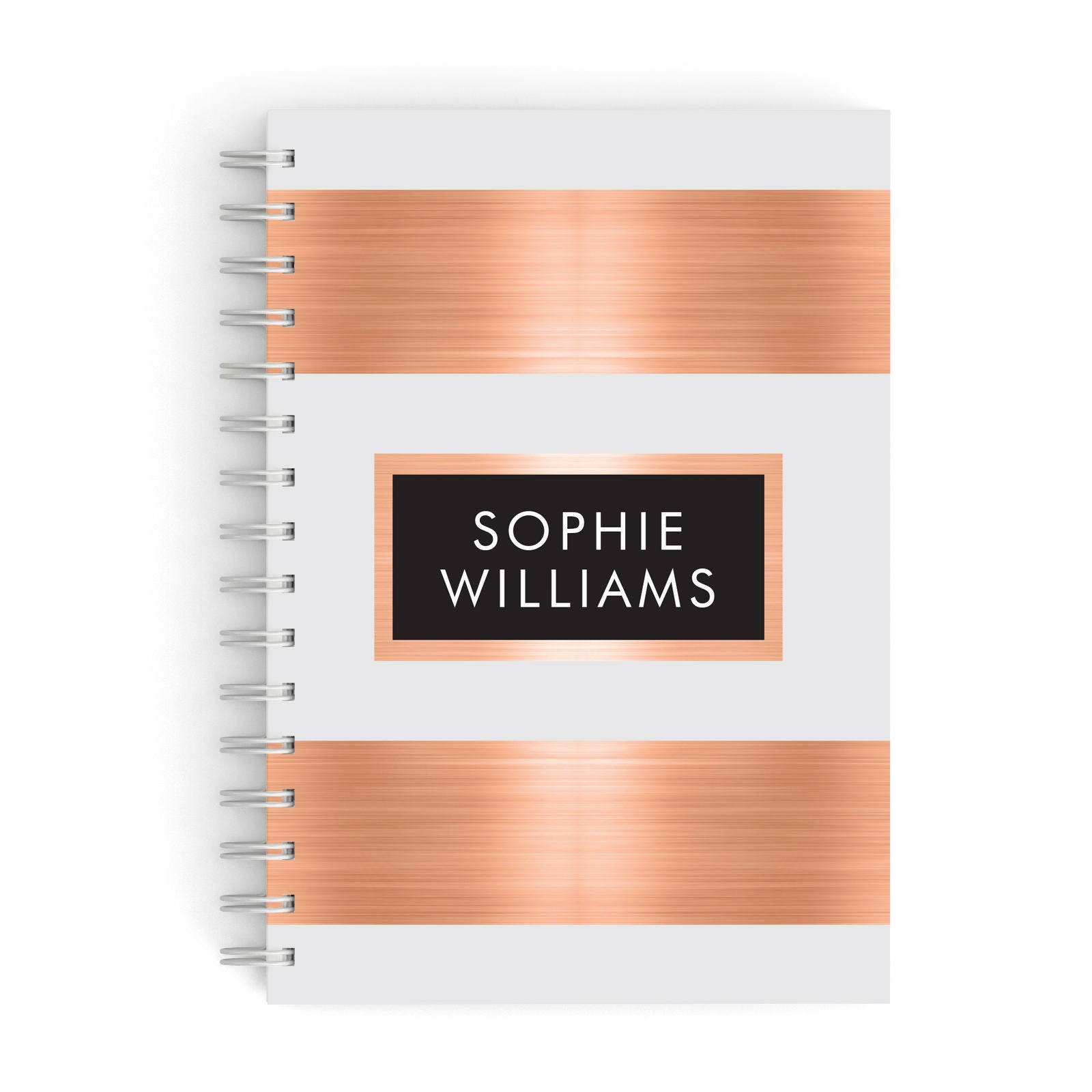 Personalised Rose Gold Name Text Initials A5 Hardcover Notebook