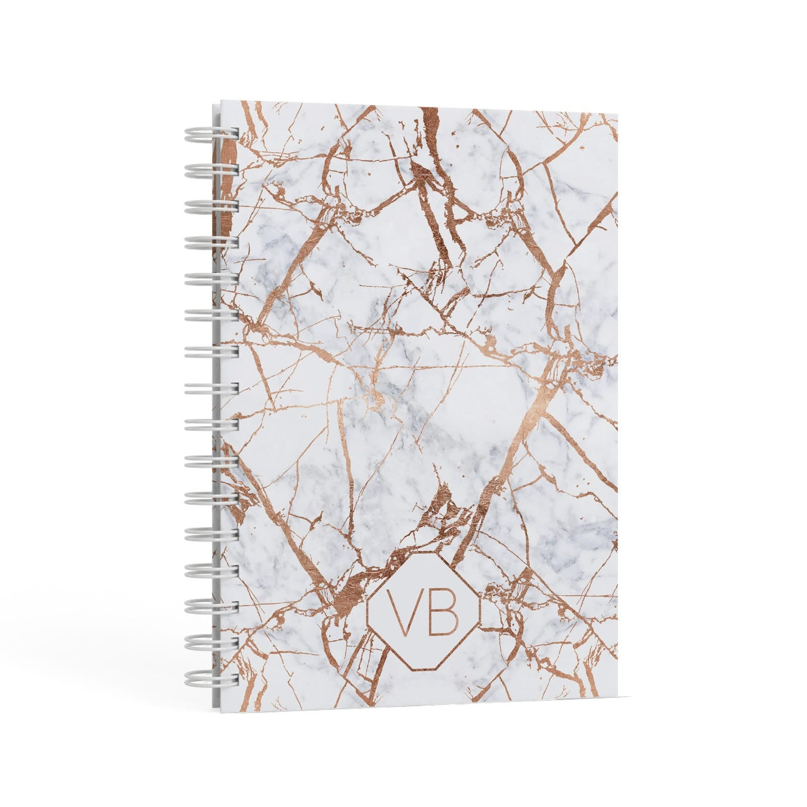 Personalised Rose Gold Vein Marble Initials A5 Hardcover Notebook Second Side View