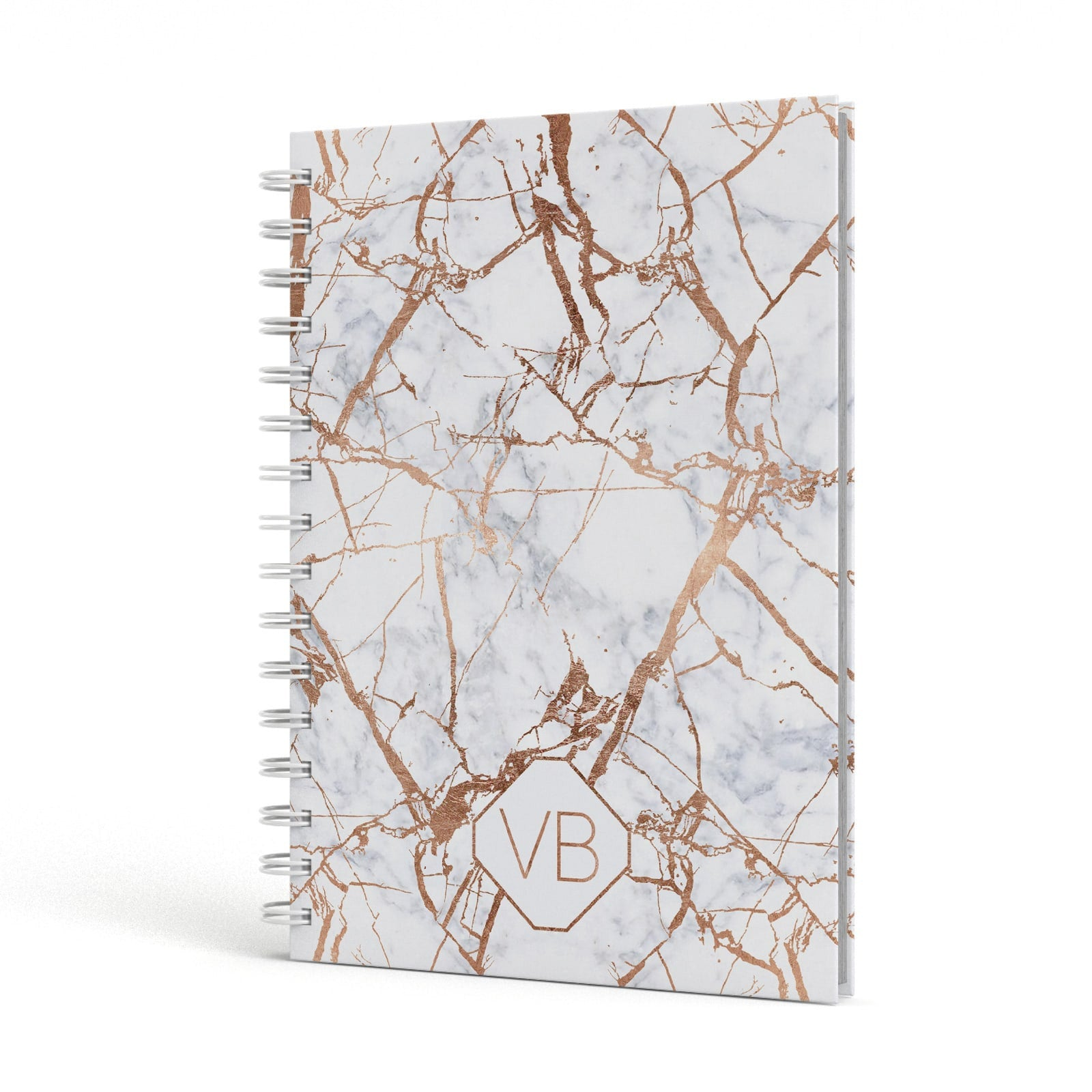 Personalised Rose Gold Vein Marble Initials A5 Hardcover Notebook Side View