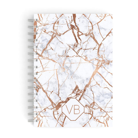 Personalised Rose Gold Vein Marble Initials A5 Hardcover Notebook