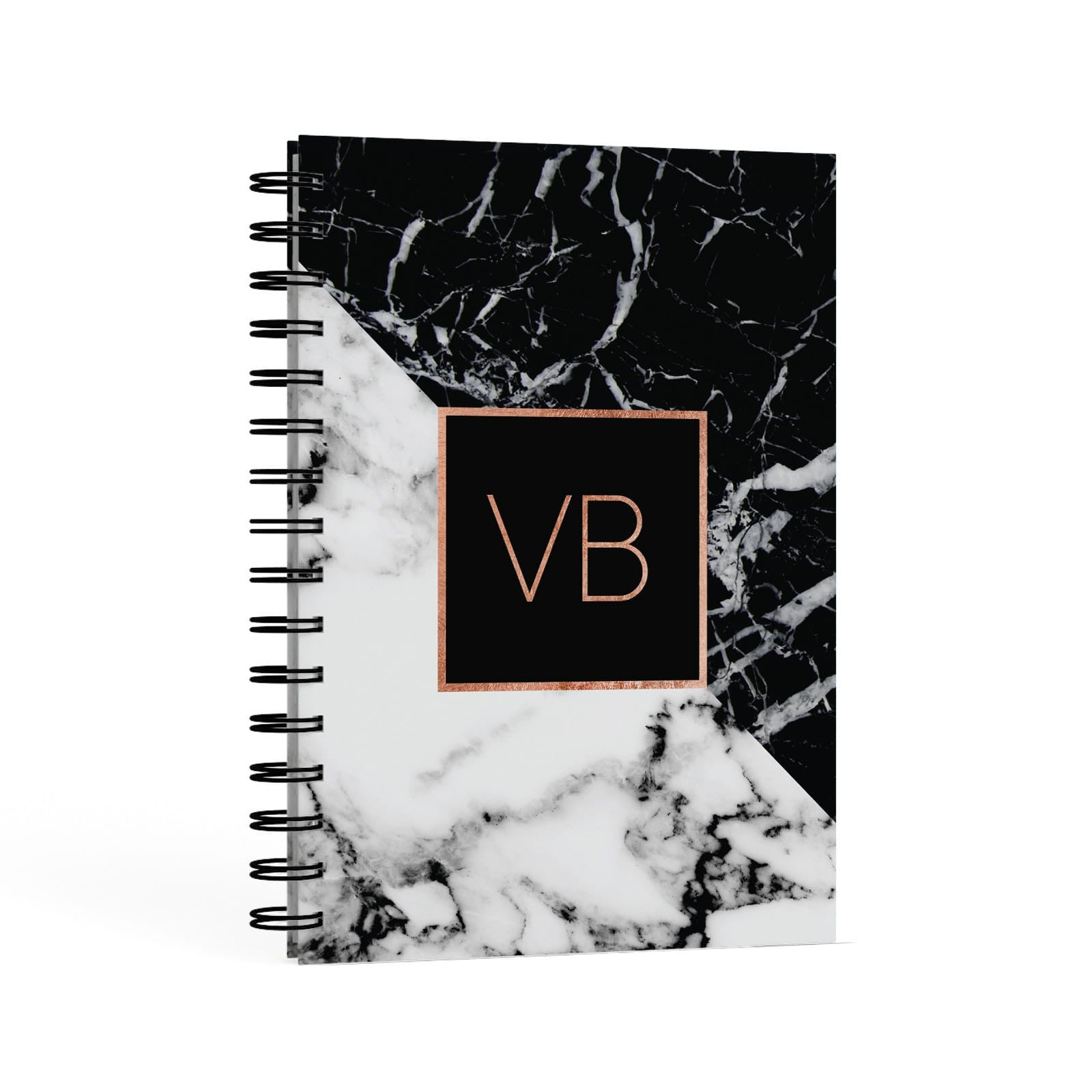 Personalised Rose Gold With Marble Initials A5 Hardcover Notebook Second Side View