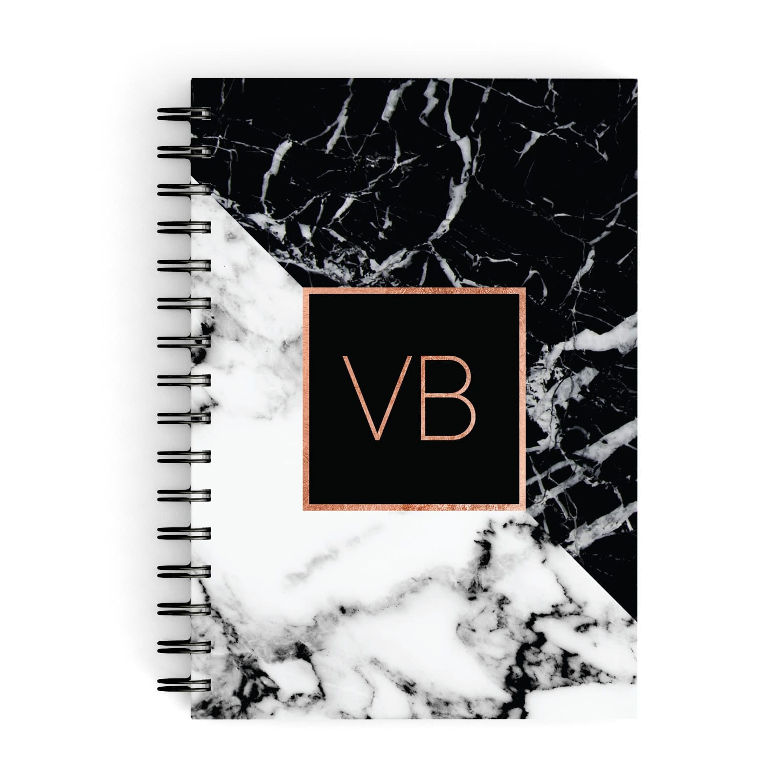 Personalised Rose Gold With Marble Initials A5 Hardcover Notebook
