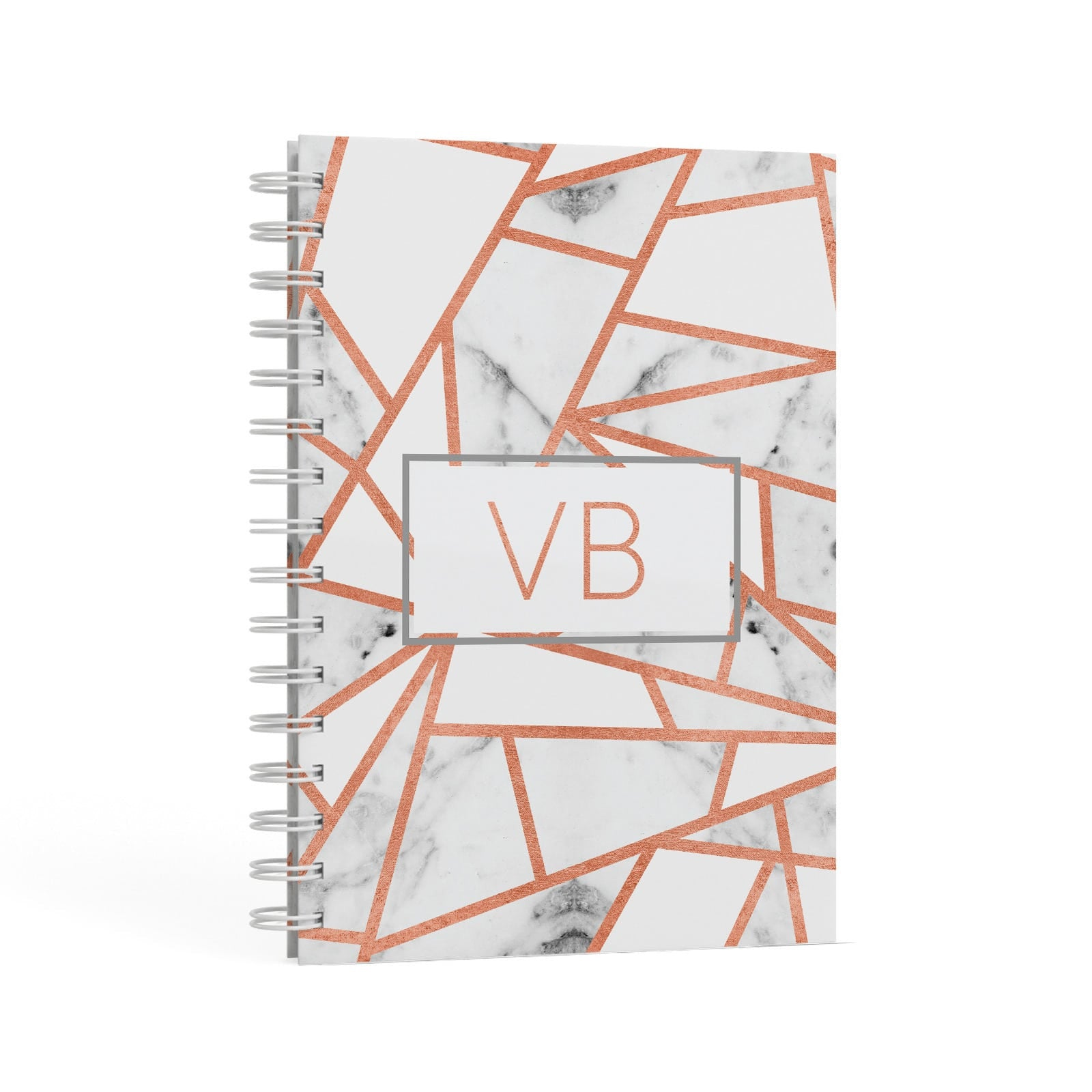 Personalised Rosegold Marble Initials A5 Hardcover Notebook Second Side View