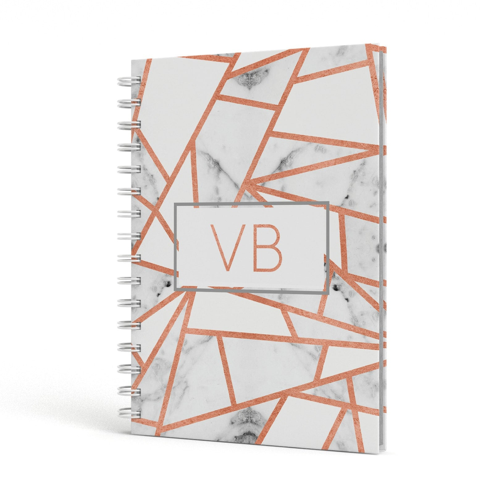 Personalised Rosegold Marble Initials A5 Hardcover Notebook Side View