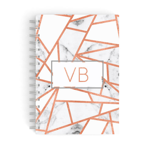 Personalised Rosegold Marble Initials A5 Hardcover Notebook