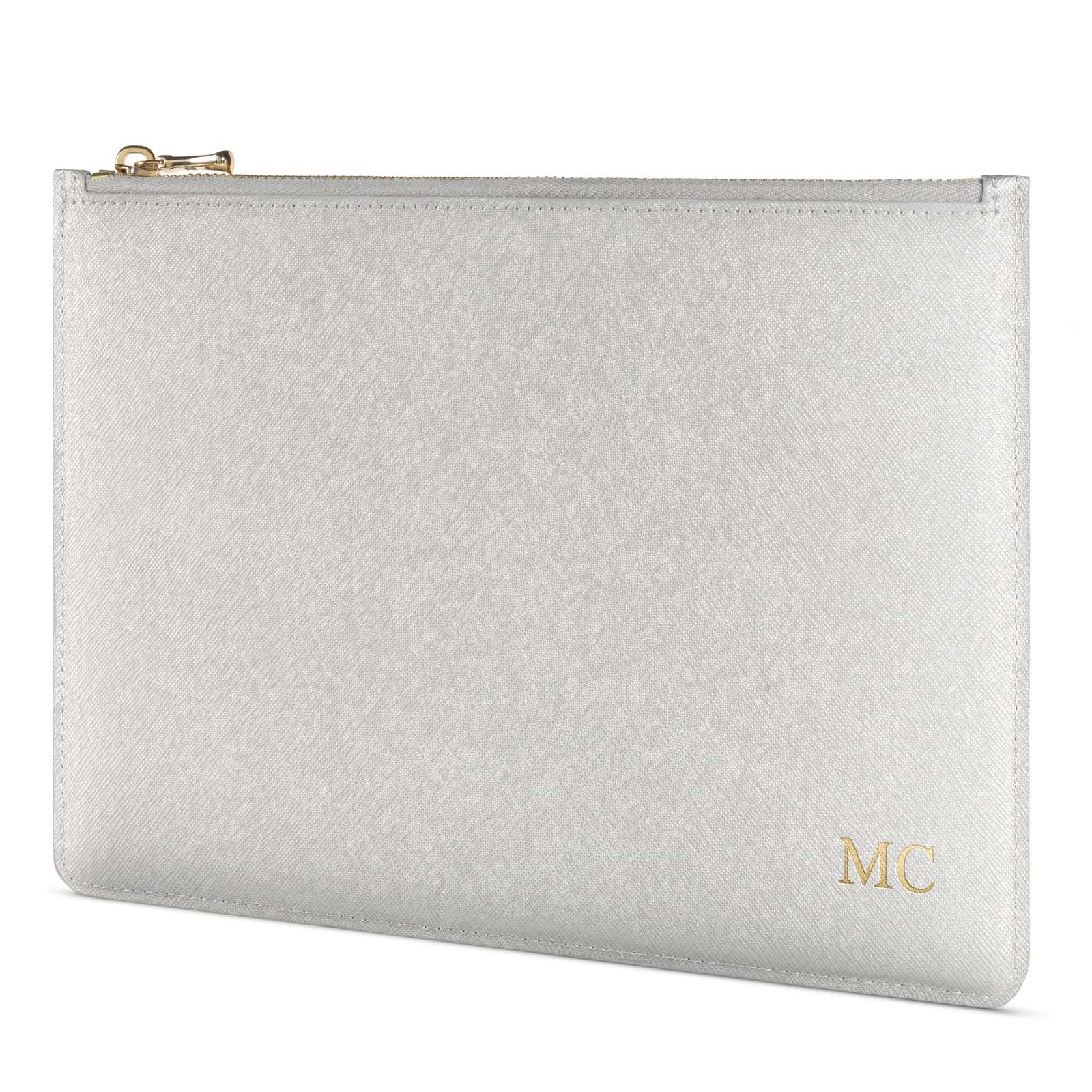 Personalised Silver Saffiano Leather Pouch