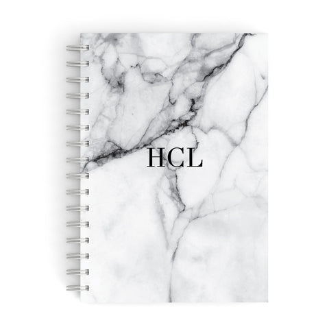 Personalised Small Marble Initials Custom A5 Hardcover Notebook