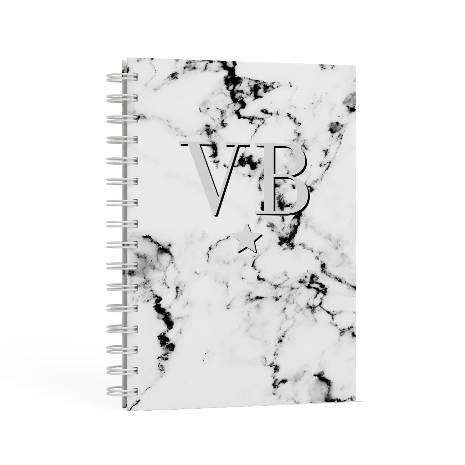 Personalised Star Marble Initialed Grey A5 Hardcover Notebook Second Side View