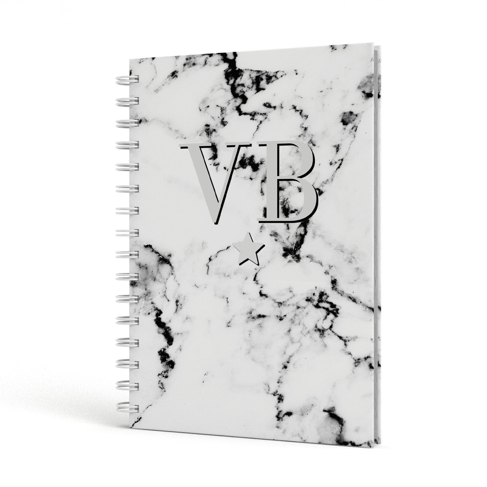 Personalised Star Marble Initialed Grey A5 Hardcover Notebook Side View