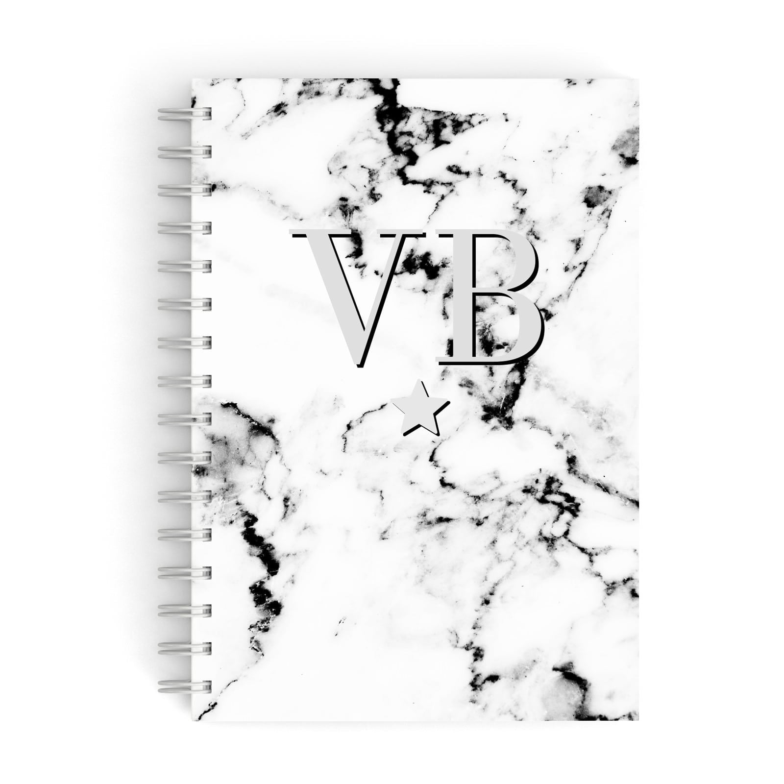 Personalised Star Marble Initialed Grey A5 Hardcover Notebook