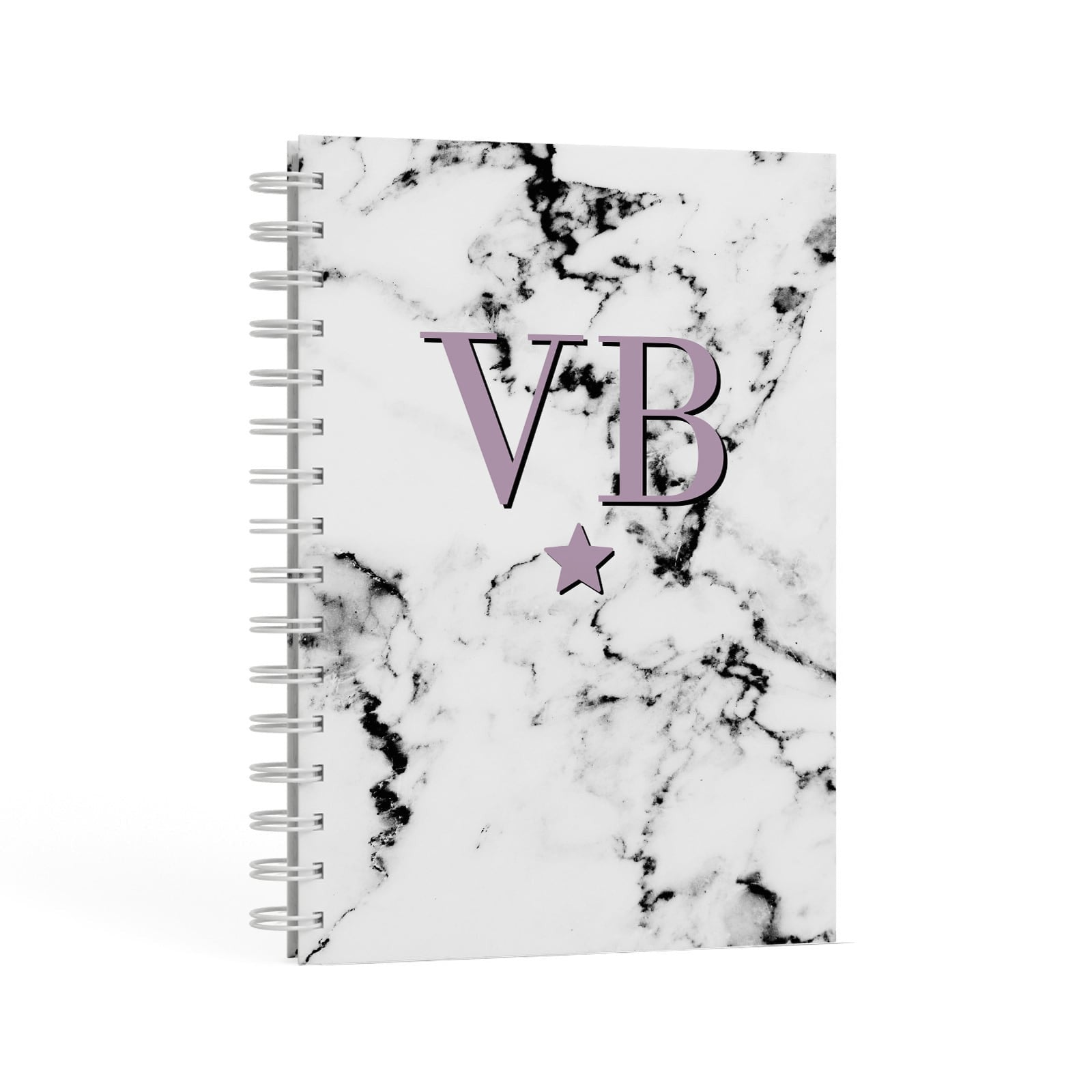 Personalised Star With Monogram Marble A5 Hardcover Notebook Second Side View