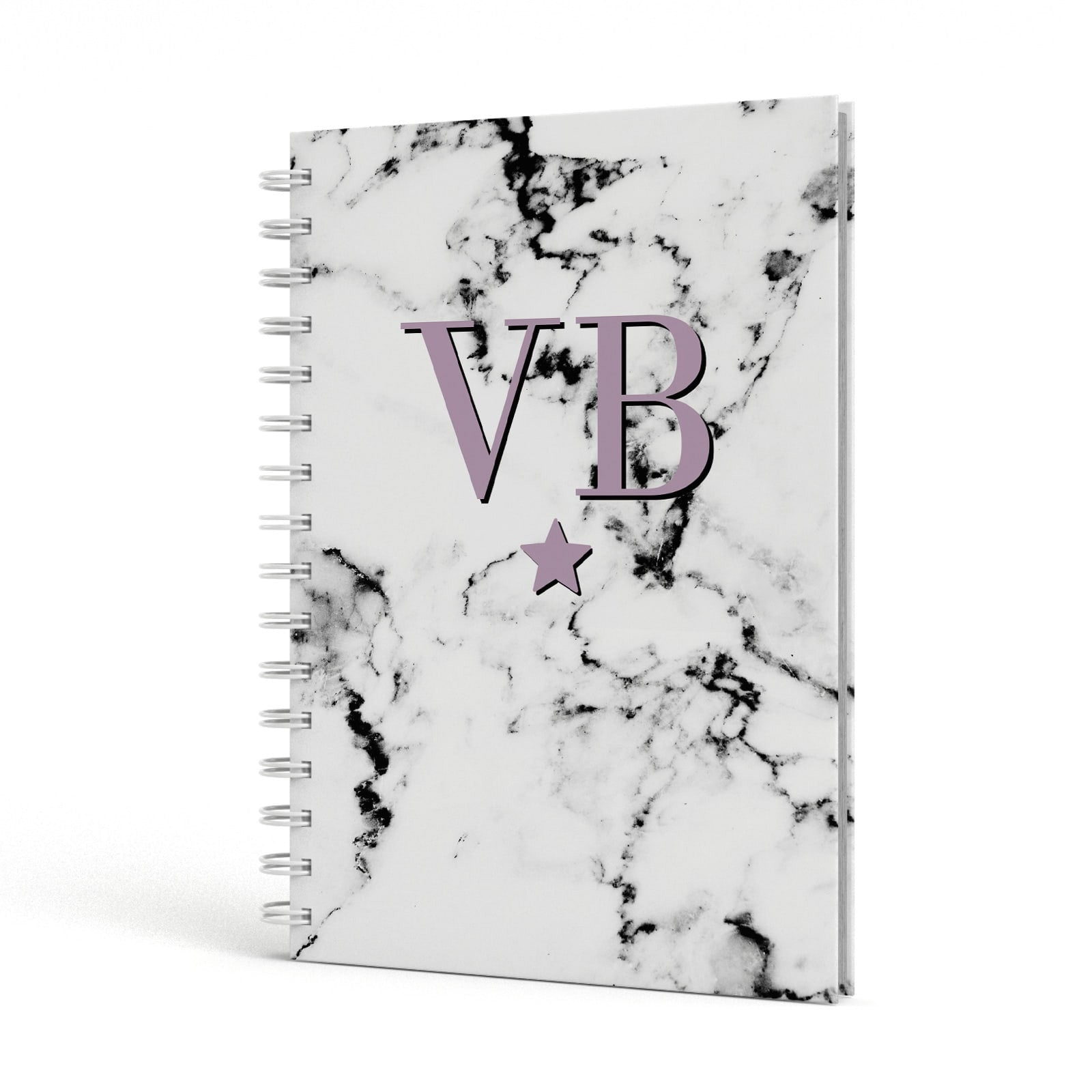 Personalised Star With Monogram Marble A5 Hardcover Notebook Side View