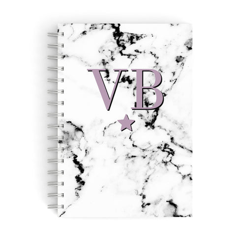 Personalised Star With Monogram Marble A5 Hardcover Notebook