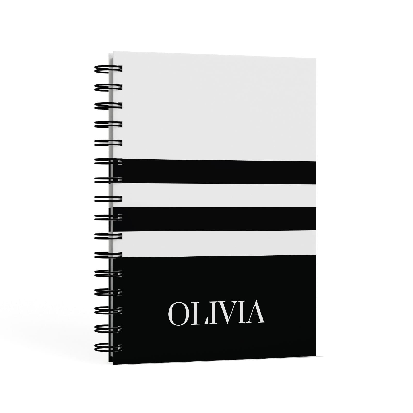 Personalised Striped Name A5 Hardcover Notebook Second Side View