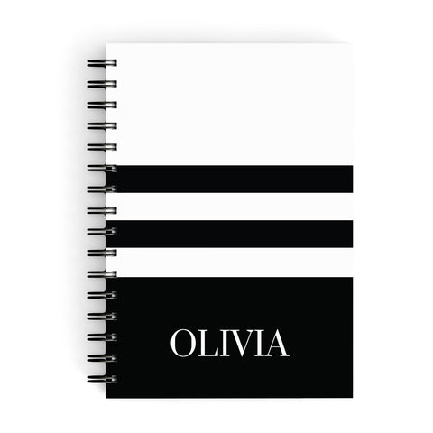 Personalised Striped Name A5 Hardcover Notebook