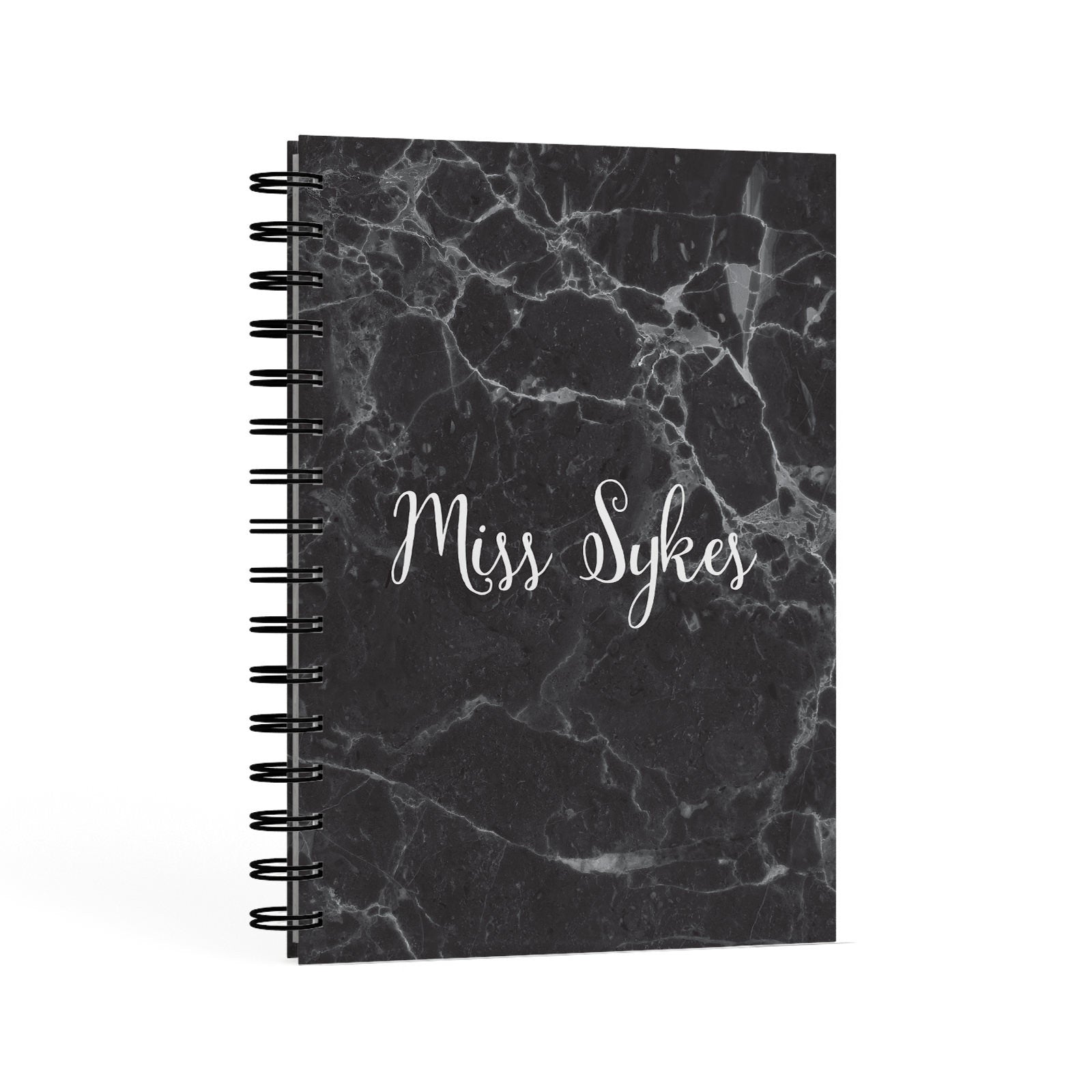 Personalised Surname Marble A5 Hardcover Notebook Second Side View