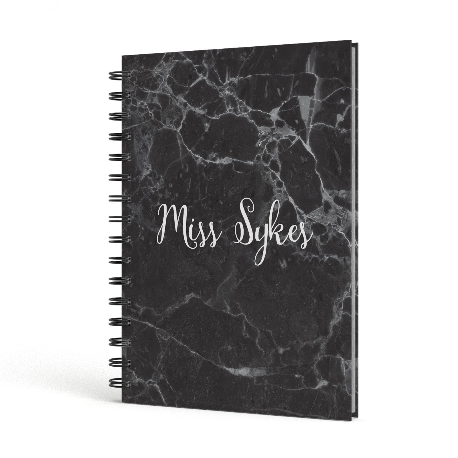 Personalised Surname Marble A5 Hardcover Notebook Side View