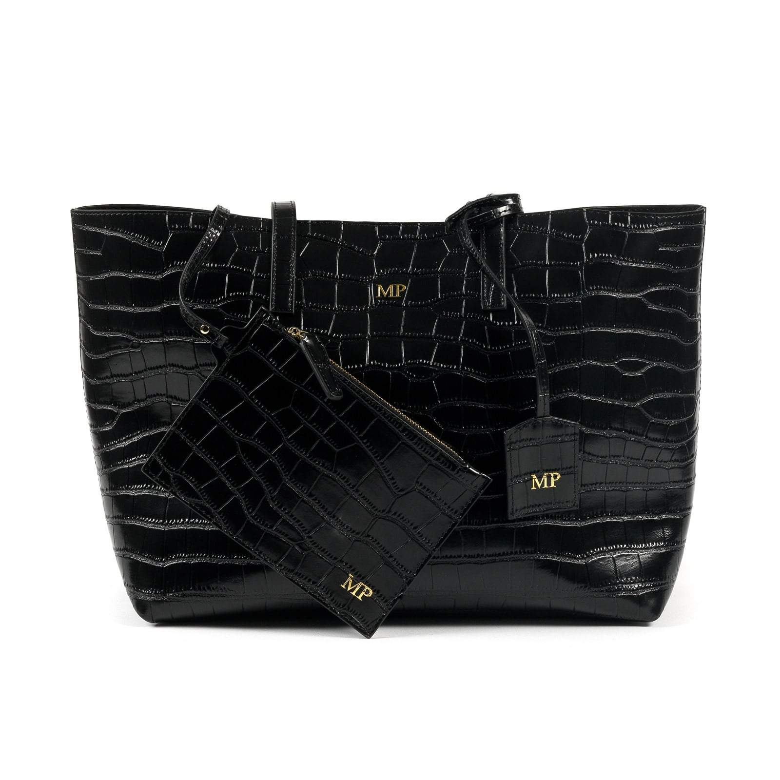 Personalised Black Croc Leather Tote with attached zipper pouch