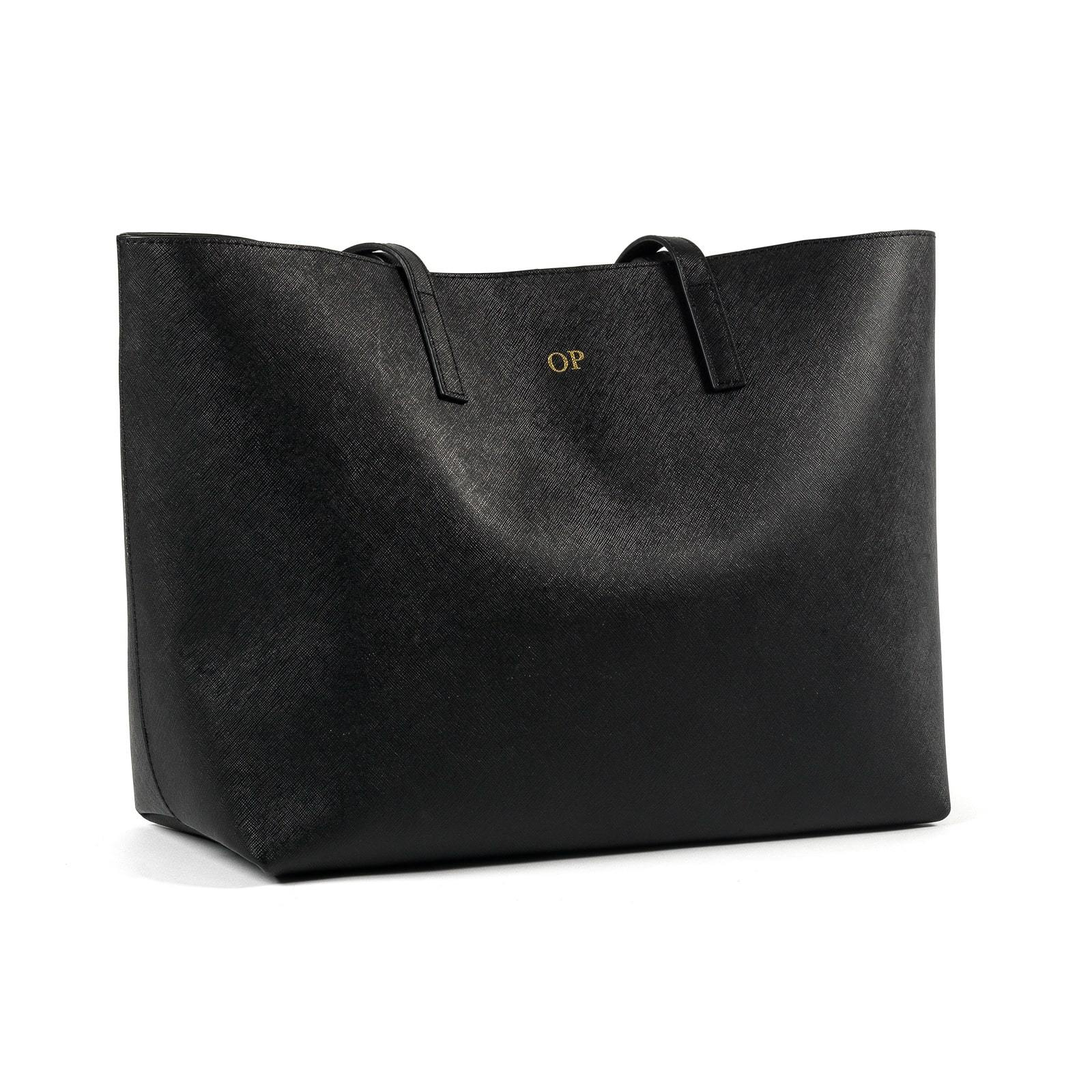 Personalised Black Saffiano Leather Tote side image