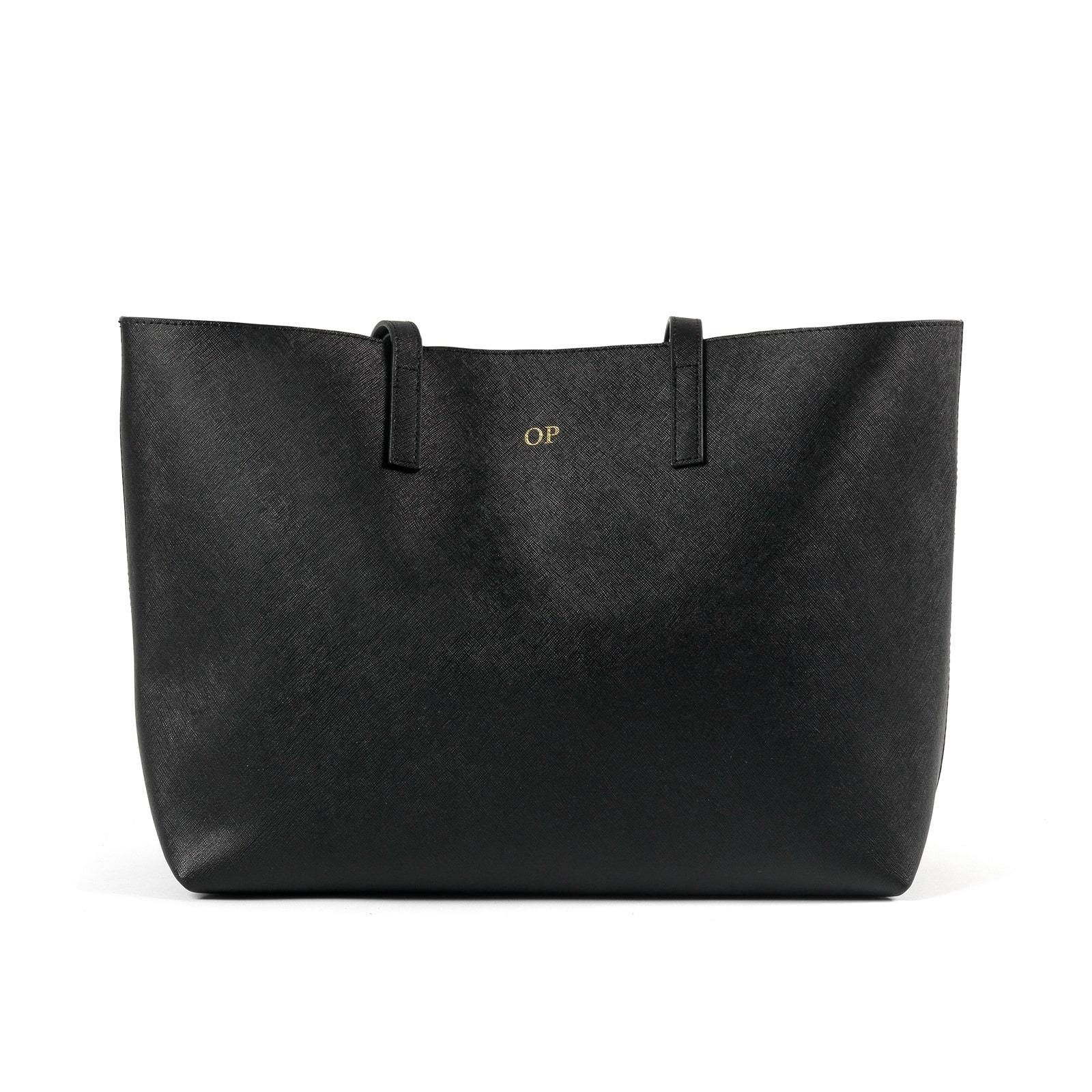 Personalised Black Saffiano Leather Tote