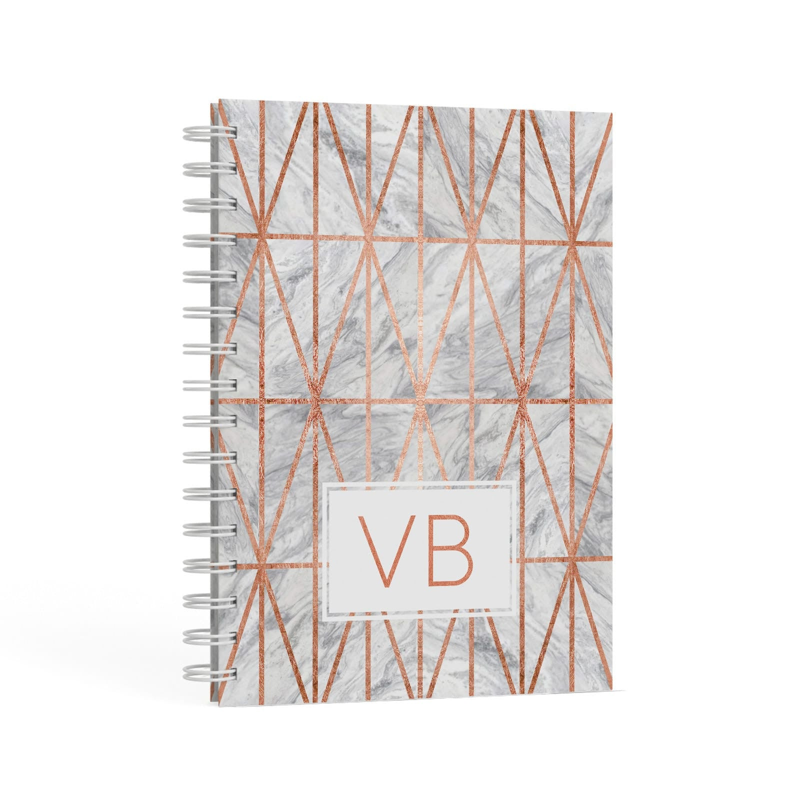 Personalised Triangular Marble Initials A5 Hardcover Notebook Second Side View