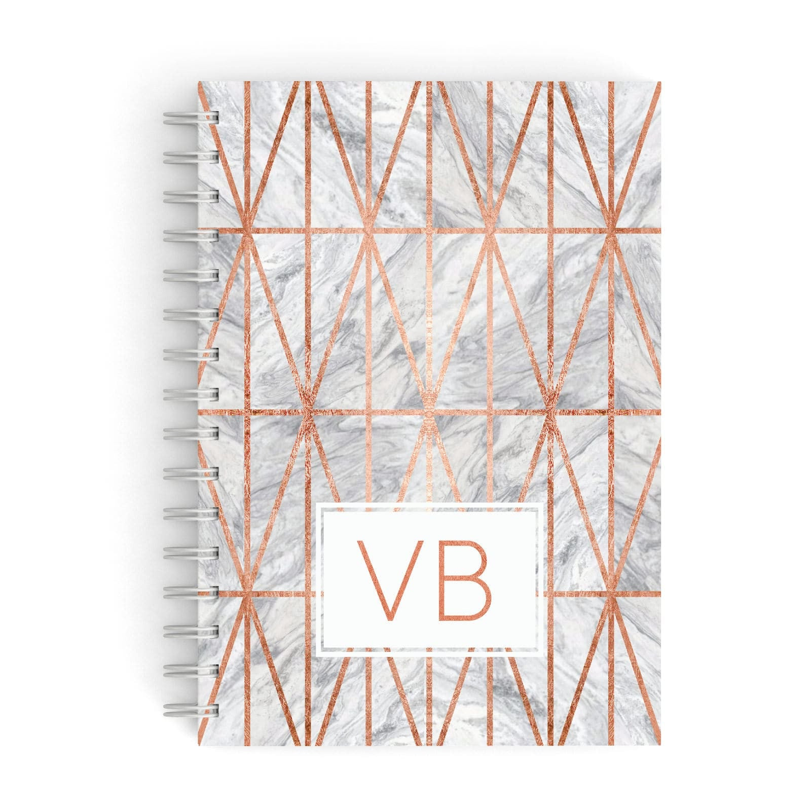 Personalised Triangular Marble Initials A5 Hardcover Notebook