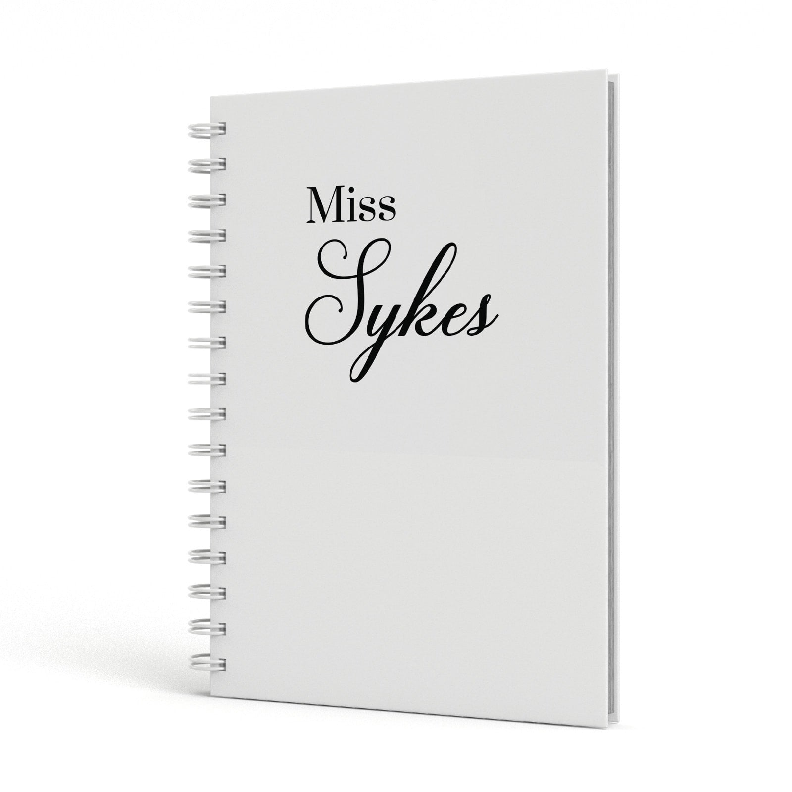 Personalised Wedding Name Miss A5 Hardcover Notebook Side View