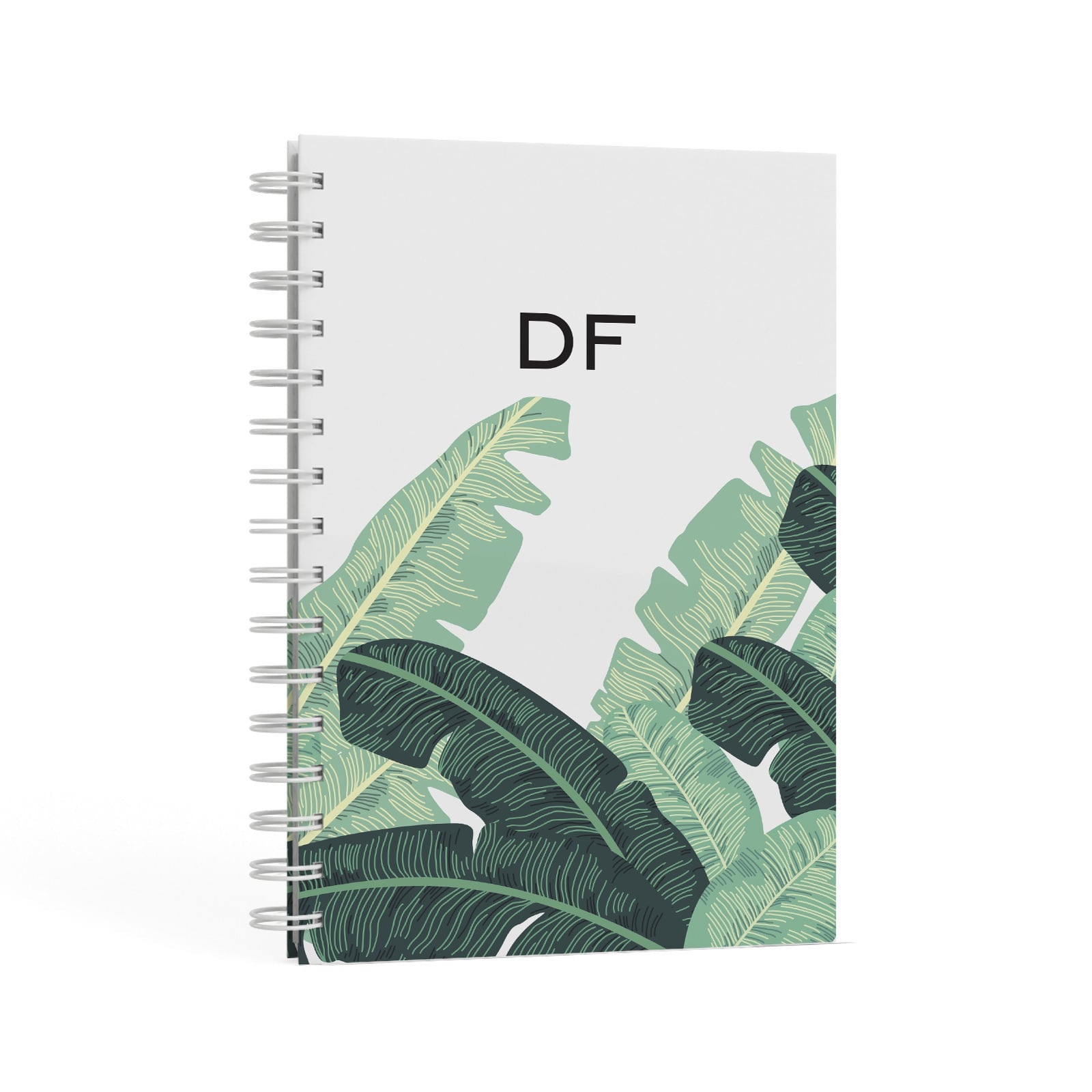 Personalised White Banana Leaf A5 Hardcover Notebook Second Side View