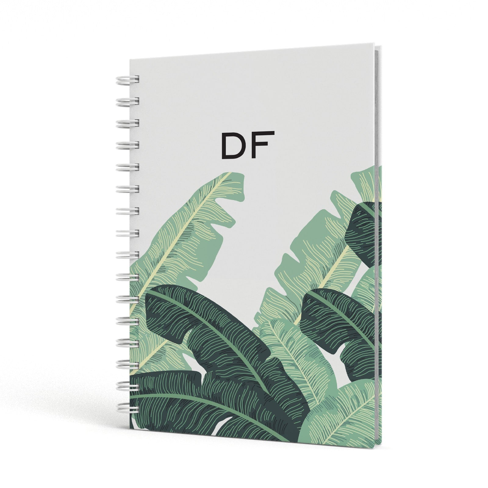 Personalised White Banana Leaf A5 Hardcover Notebook Side View
