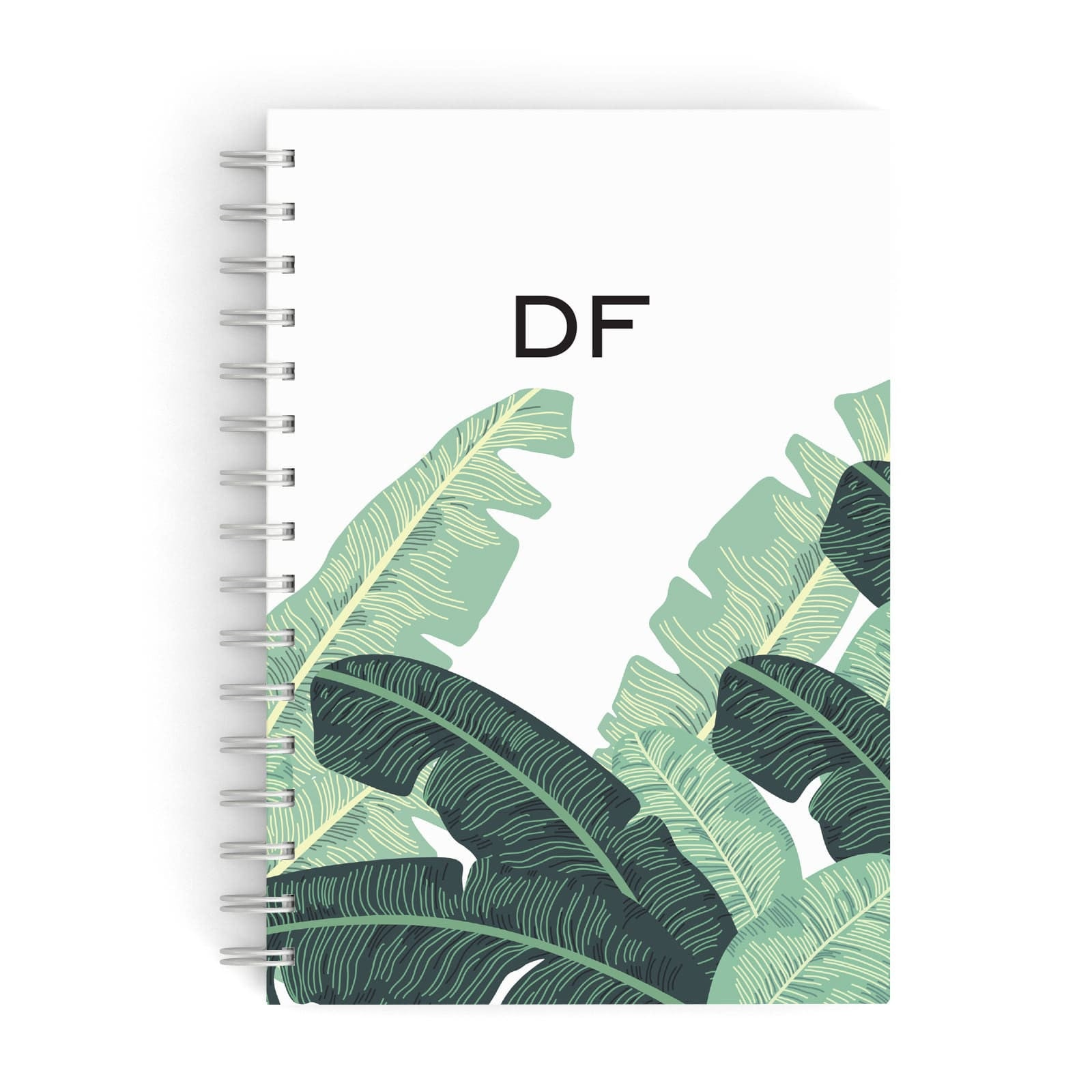 Personalised White Banana Leaf A5 Hardcover Notebook