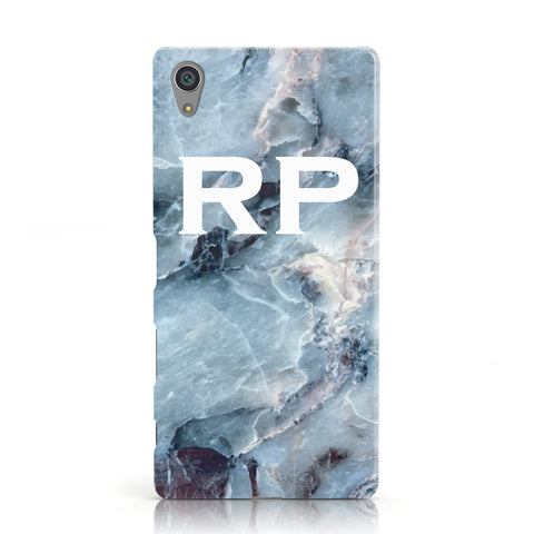 Personalised White Initials Marble Sony Xperia Case