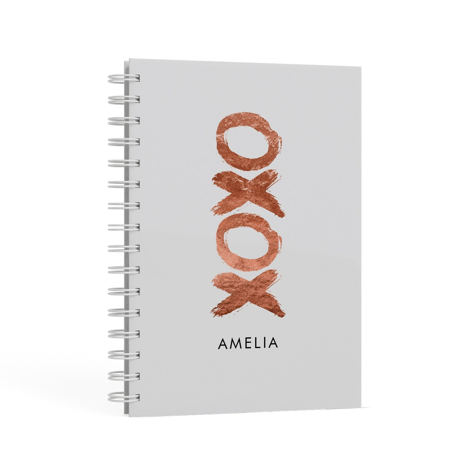 Personalised Xoxo Custom Name Or Initials A5 Hardcover Notebook Second Side View