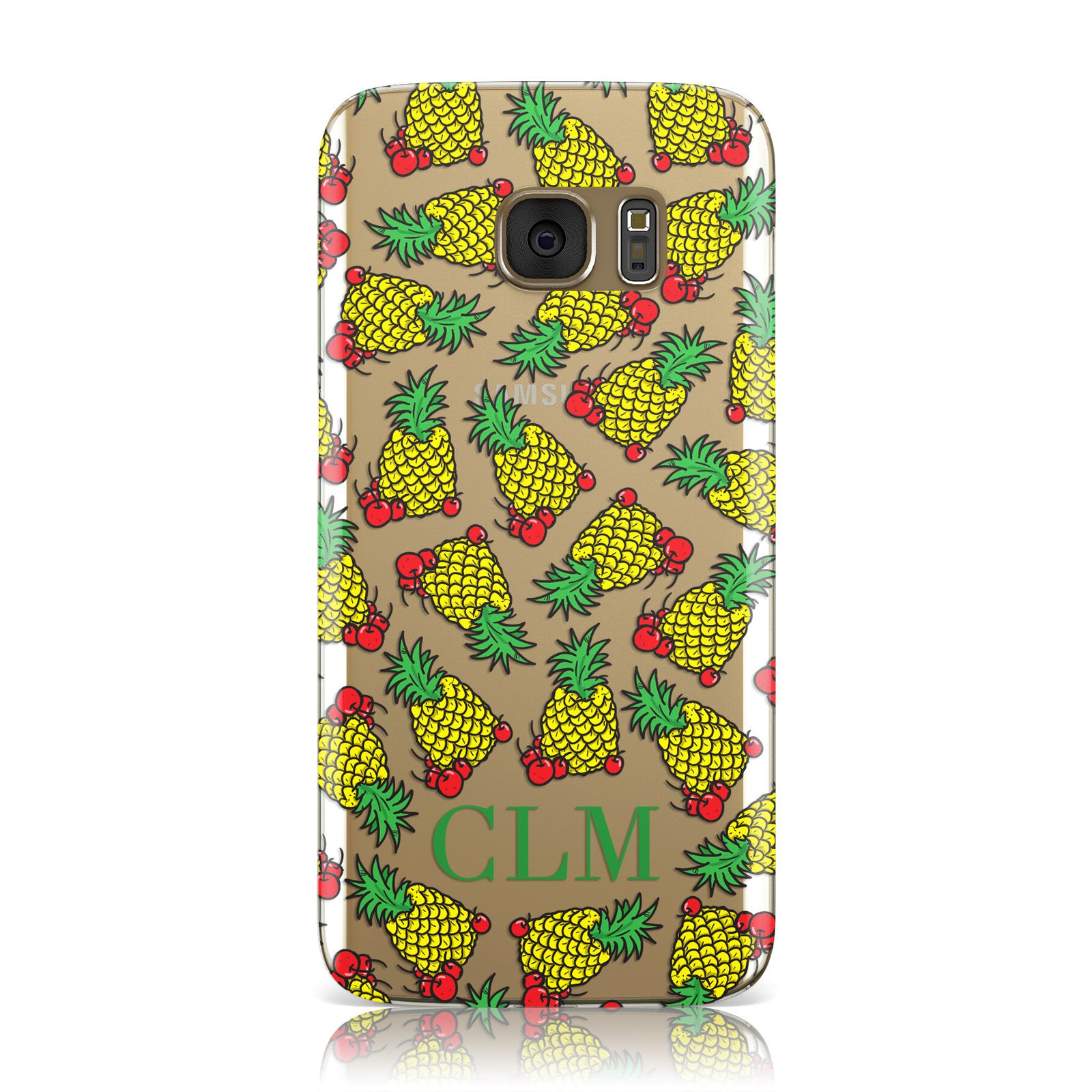 Personalised Pineapple Initials Clear Samsung Galaxy Case
