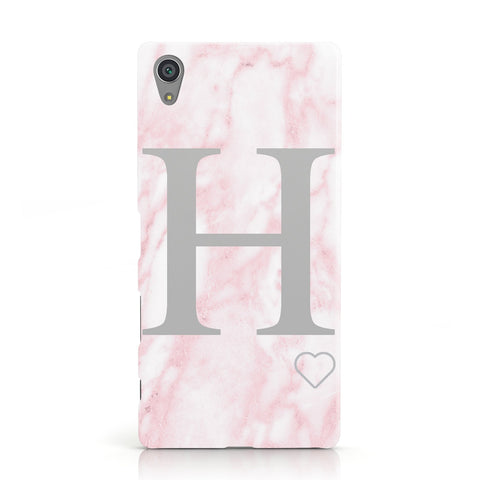 Personalised Pink Marble Initial 1 Custom Sony Xperia Case