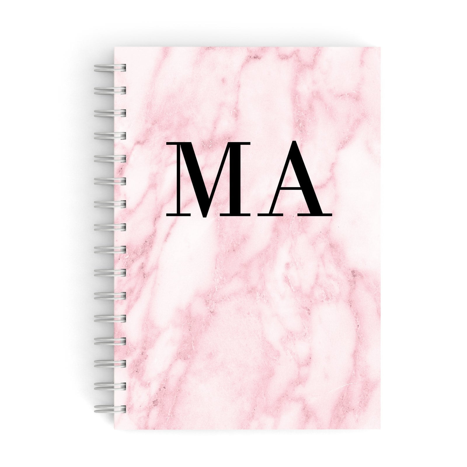Pink Marble Initials Personalised A5 Hardcover Notebook