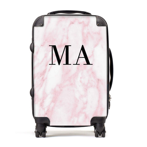 Pink Marble Initials Personalised Suitcase