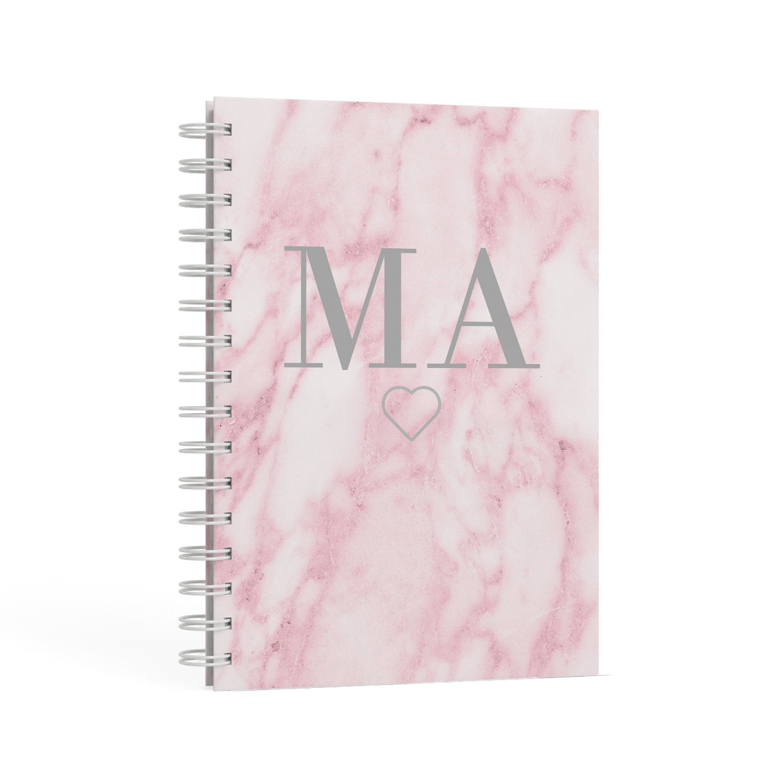 Pink Marble Monogram Personalised A5 Hardcover Notebook Second Side View