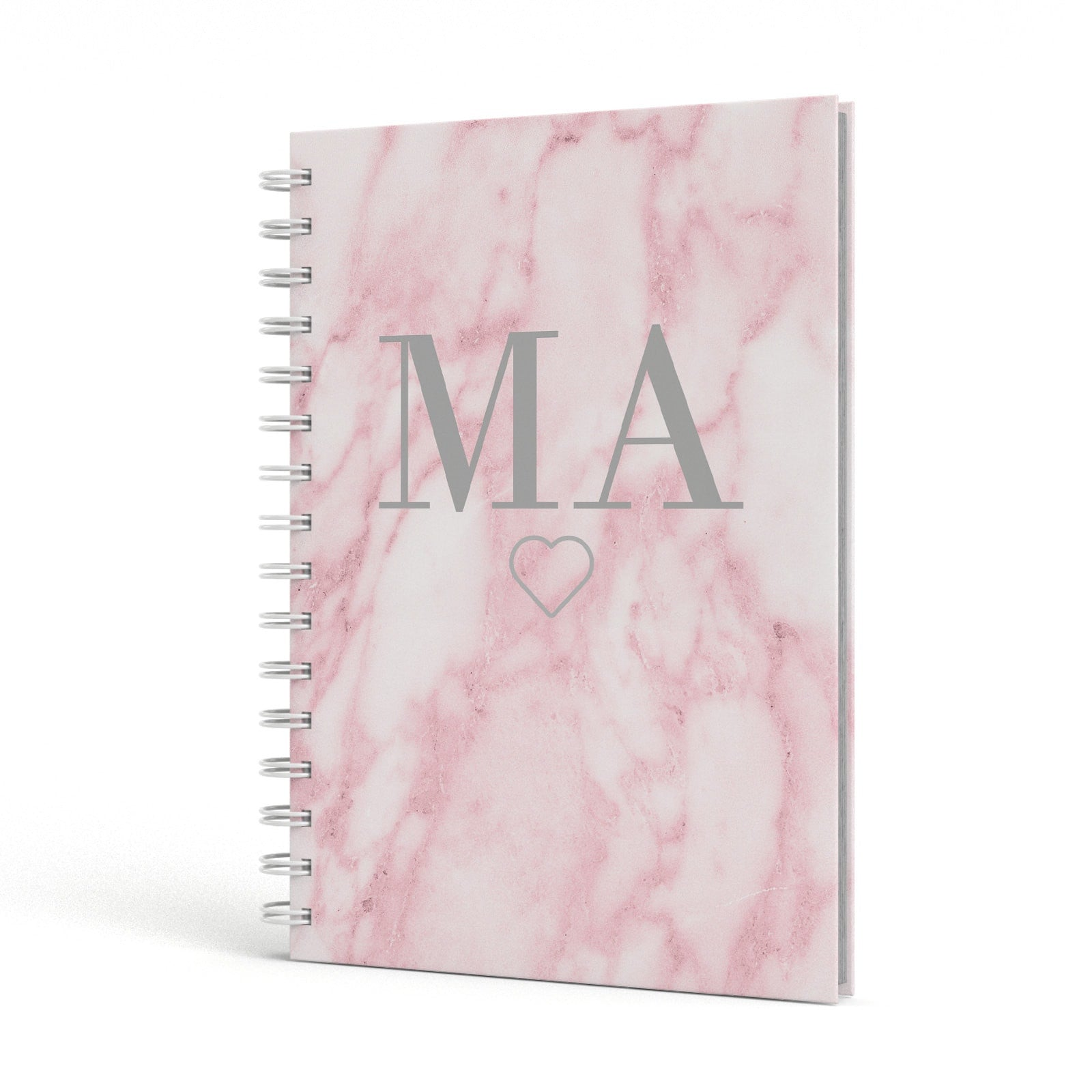 Pink Marble Monogram Personalised A5 Hardcover Notebook Side View