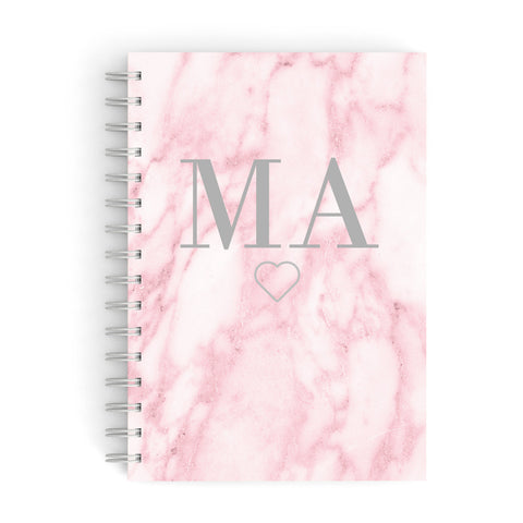 Pink Marble Monogram Personalised A5 Hardcover Notebook