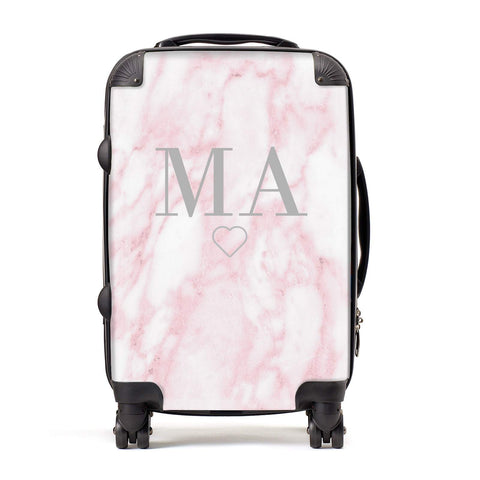 Pink Marble Monogram Personalised Suitcase