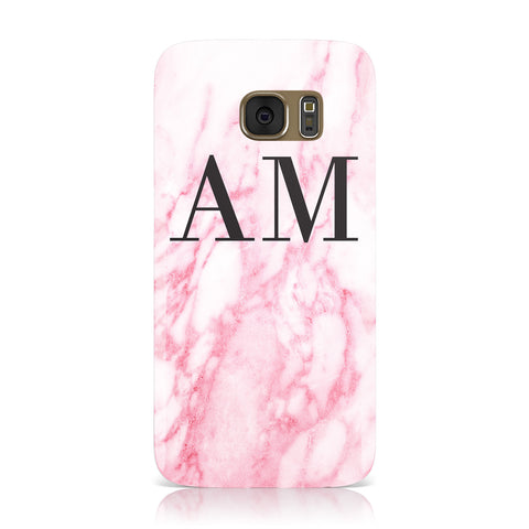 Personalised Pink Marble Monogrammed Samsung Galaxy Case