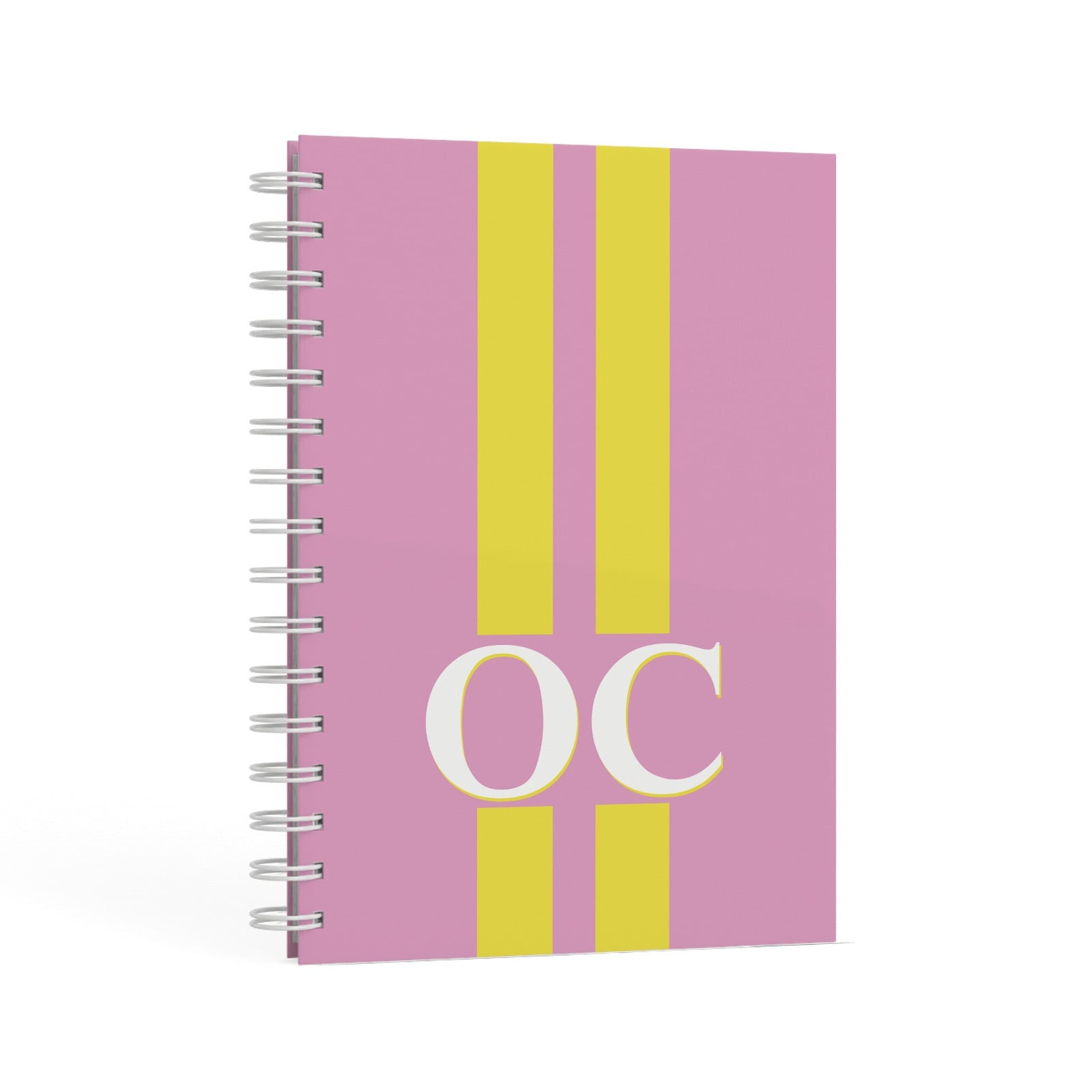 Pink Personalised Initials A5 Hardcover Notebook Second Side View