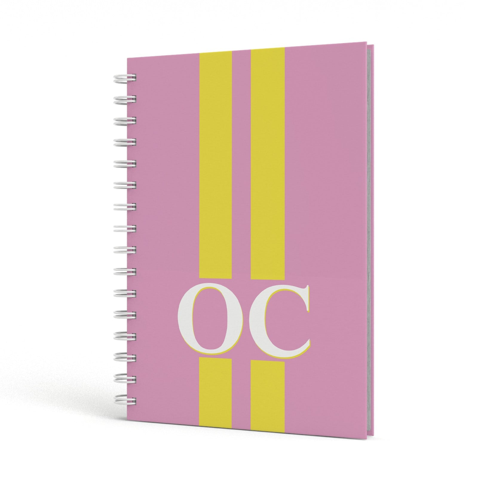 Pink Personalised Initials A5 Hardcover Notebook Side View