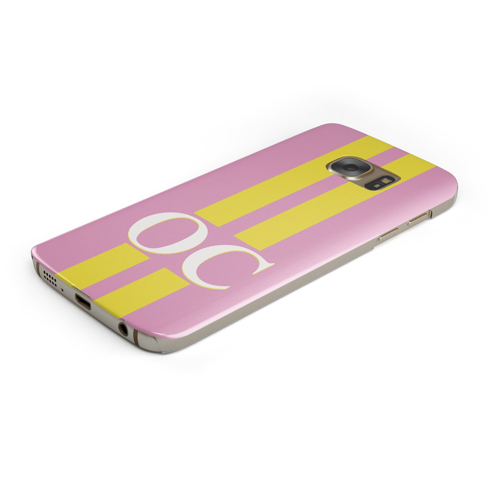 Pink Personalised Initials Samsung Galaxy Case Bottom Cutout