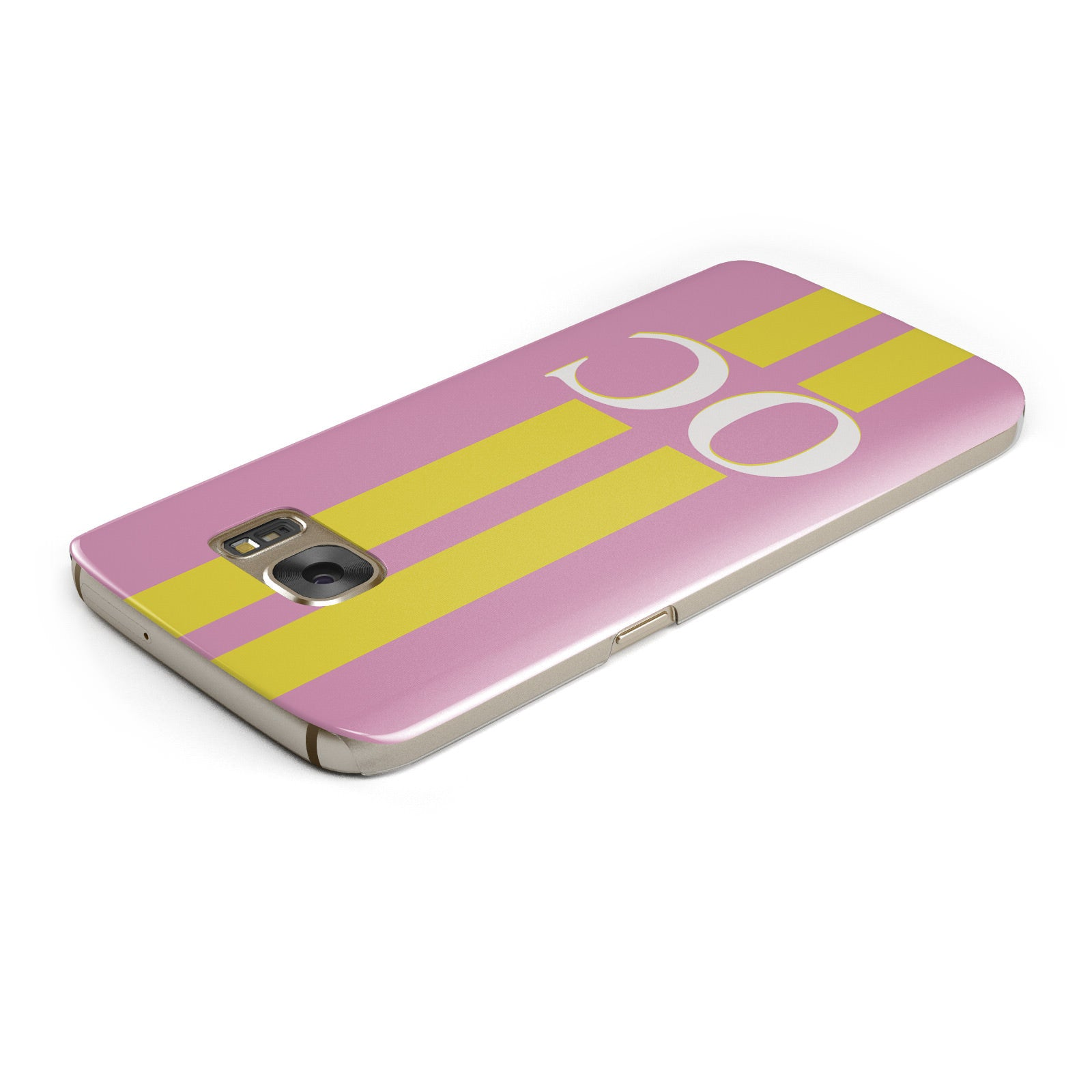 Pink Personalised Initials Samsung Galaxy Case Top Cutout