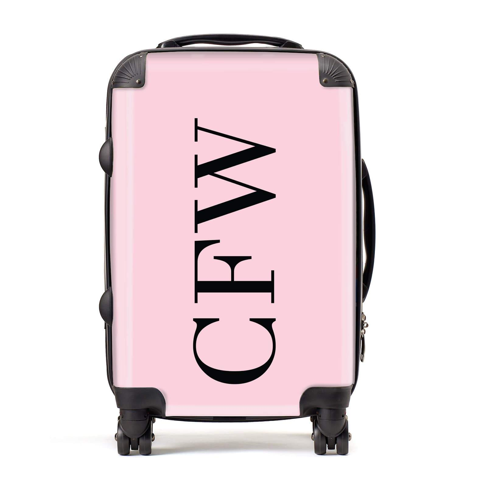 Pink with Black Initials Personalised Suitcase