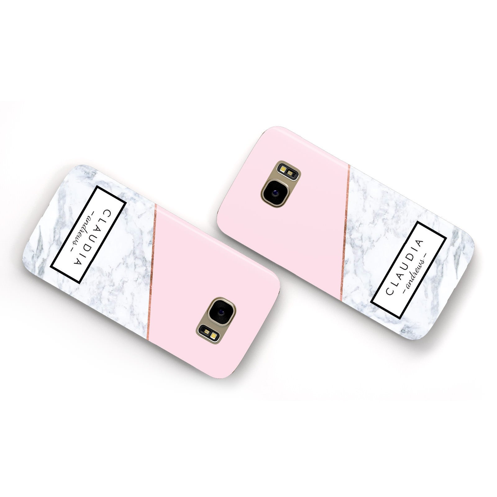 Personalised Pink With Marble Initials Name Samsung Galaxy Case Flat Overview